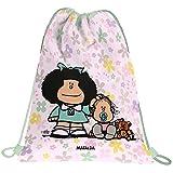 Mafalda 37610534 Colección Mafalda Mochila Saco con Cuerdas y Bolsillo Exterior, Modelo Flores, 36 x 47 cm