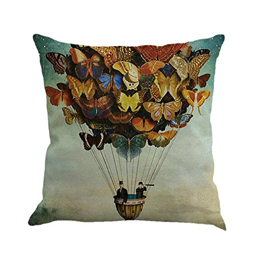 Kavitoz Pillow Cases, Butterfly Painting Linen Cushion Cover Throw Waist Pillow Case Square Sofa Home Decor (C)
