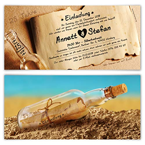 30 x Hochzeitseinladungen silberne Hochzeit Silberhochzeit Einladungen individuell - Flaschenpost Motiv