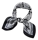 Women's Small Square 100% Real Mulberry Silk Scarfs Scarves 21' x 21' Paisley White and Black
