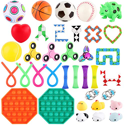 FiGoal 36 PCS Stress Relief Set Sensory Fidget Toys Set Hand Toys for Adults Kids ADHD ADD Anxiety Autism, Birthday Party Favors, Classroom Prize, Goodie Bag Fillers