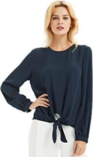 Basic Model Women's Chiffon Casual Tops Long Sleeve Tie Front Blouse T-Shirt