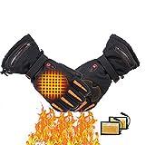 HEWYHAT Guantes térmicos para Hombres Calentadores de Manos con batería Recargable, USB eléctrico Guantes térmicos Guantes de Pantalla táctil para Esquiar Camping Senderismo,Negro,XL