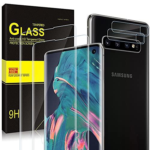 wsky Panzerglas Kompatibel mit Samsung Galaxy S10 [2Stück] + Samsung S10 Kamera Panzerglas [2Stück], 3D Vollständige Abdeckung, 9H-Härte, Ultra-Klarheit, Anti-Scratch, HD Klar Displayschutzfolie