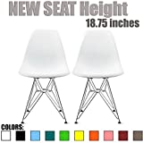 2xhome Set of 2 White Desk Chair Mid Century Modern Plastic Molded Shell Assembled Chairs Chrome Wire Base Metal Eiffel Side Armless No Arms DSW for Work Dining Living Kitchen Bedroom