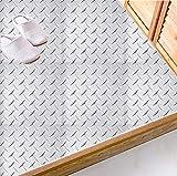 YQYMSPX Pegatinas para azulejos de cocina y baño, 15 x 15 cm, de acero de imitación, autoadhesivas, impermeables, para cocina, baño, sala de estar, TV, decoración de fondo, 1 juego de 20 unidades