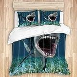 AoLismini Juego de Funda nórdica de algodón Lavado, tiburón de mar Profundo, pez Grande y Algas Verdes, Juego de Cama Suave de Lujo de 3 Piezas, tamaño King