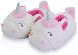 LA PLAGE Kid Comfortable Non-Skid Cozy Soft Unicorn House Slippers,Warm&Cute