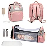 3 in 1 Diaper Bag Backpack, Travel Bassinet Foldable Baby Bed with USB Charging Port, Waterpoof, Portable Nappy Bag Changing Station for Boy Girl Newborn Outdoor and Indoor