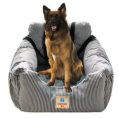 Acopsh Hunde Autositz, Waschbar Auto Hundebett, rutschfeste Katze Reisen Front Booster Sitze mit Abnehmbare HundeKissen für SUVs, Autos & Fahrzeuge(Kaffee/weißer Streifen)