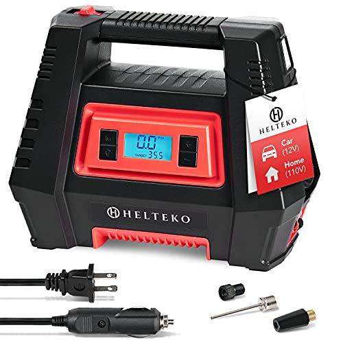 Helteko Air Compressor Tire Inflator AC/DC, Electric Digital Tire Pump for Car 12V and Home 110V,...