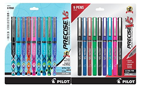 PILOT Precise V5 Deco Collection Rolling Ball Pens, Extra Fine Point, 9-Pack, Assorted Colors (38811) + Pilot Precise V5 Stick Rolling Ball Pens, Extra Fine Point, 9-Pack, Assorted Color Inks Bundle