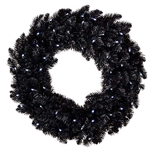 Hallmark Keepsake Christmas Ornament Star Galaxy Black Wreath with Lights, 30'