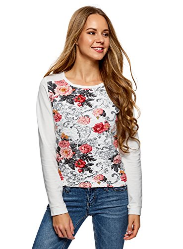oodji Ultra Damen Bedrucktes Sweatshirt aus Strukturiertem Stoff, Elfenbein, DE 36 / EU 38 / S