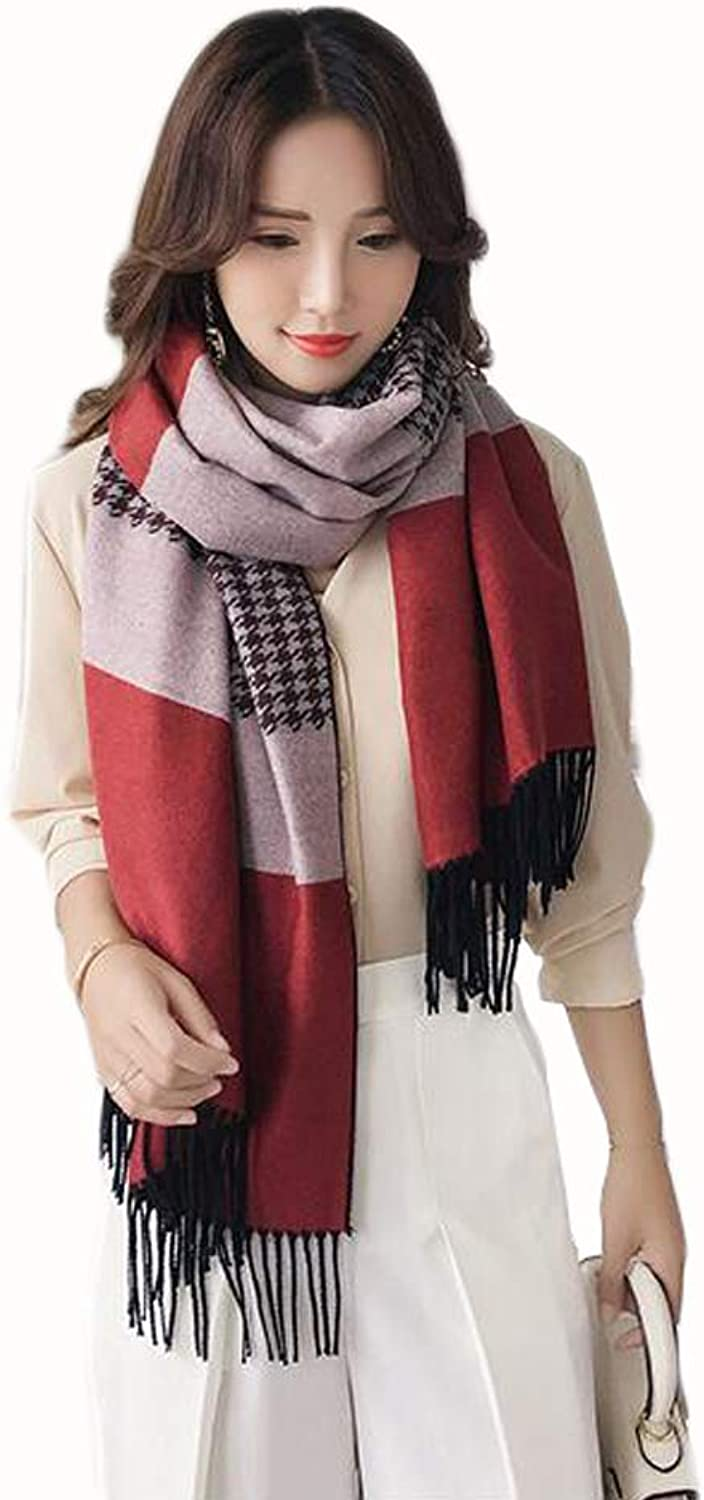 JUN Autumn and Winter Scarf Ladies New Plaid Wild Long Thick Warm Tassel Student Shawl (color   A)