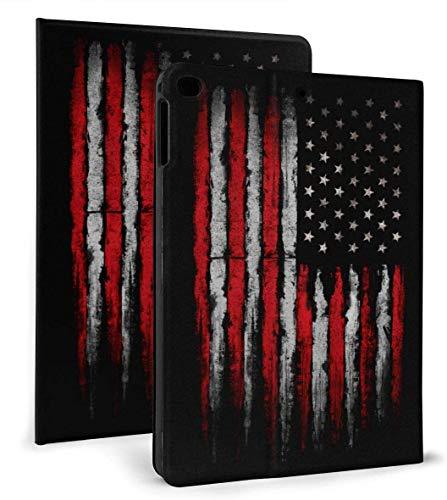 Funda Inteligente de Cuero PU con Bandera Estadounidense Grunge roja y Blanca Función de Reposo / activación automática para iPad Mini 4/5 7,9 'y iPad Air 1/2 9,7'