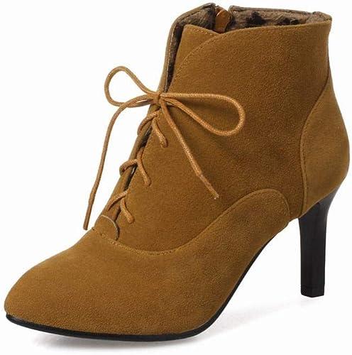 Fuxitoggo Stiefel para damen - Cordones para el otoño y el Invierno Stiefel Martin Stiefel de Estilete con Punta schuhe de Gran tamaño para damen 36-43 (Farbe   Albaricoque, tamaño   39)