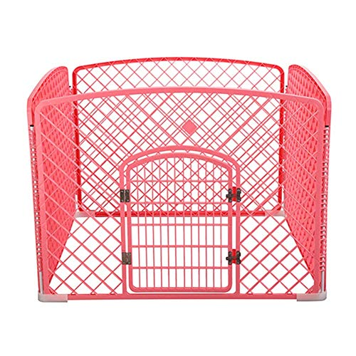 QNMM Box per Cani, Pet Protable Folding Esercizio Pen Dog Dog, 4 Pannelli PP Resin Pet Cage Kennel for Puppy,Pink