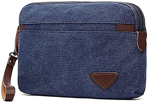Bolso de mano de lona para hombre de gran capacidad con tarjetero, azul oscuro (Azul) - ZLYY-PPWNPU-2