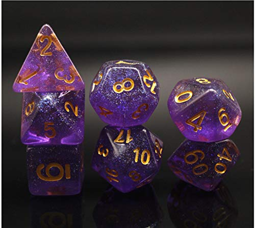 Dice Set Purple Translucent Dice RPG DND D&D Dungeons and Dragons Role Playing Game MTG Table Games Polyhedral Dice with Glitter 7-Die Set