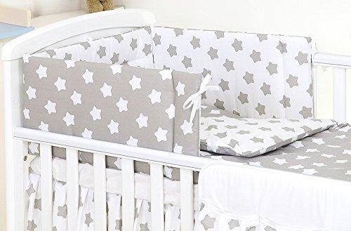 3 Piezas Conjuto Set de Ropa Protector de cuna Algodón 19 Grey Stars 120 x 60 cm Funda Nórdica 120 x 90 estrellas blancas grises
