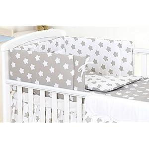 5 Piezas Juego de cama bebé Protector Edredón Ropa de cama para cuna 120 x 60 cm, Estrellas grises y blancas