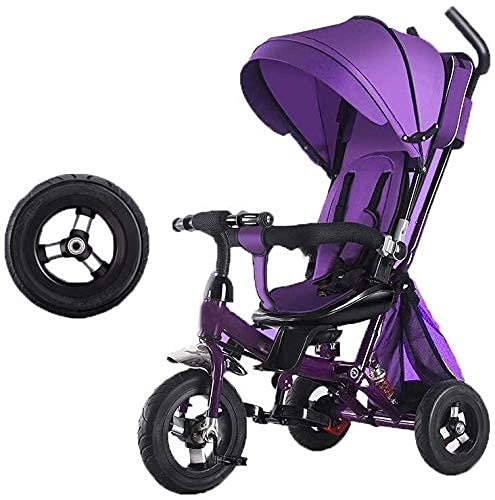 GANSULYFQ Balance car Tricycle Trike Kids' Trikes Pedal Cars Children's Tricycle for 3-6 Year Old Boys Girls Non-Slip Pedal Toddler Scooters Pushchairs,Rear Basket,Silent Foam Wheel (Color : Purple)