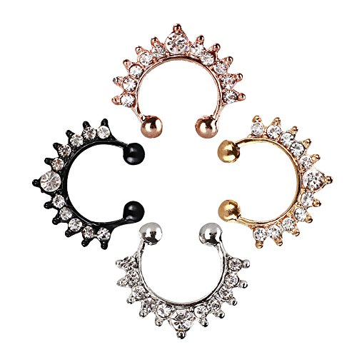 Fake Nose Rings 4-Pcs Faux Nose Ring Hoop Set Nose Piercing Jewelry Adjustable Size & Made with Hypoallergenic Material Clip on Nose Hoop Rings for Women or Men.