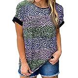 Camiseta Holgada de Manga Corta con Cuello Redondo para Mujer Tops de Verano Camisetas con Estampado de Leopardo Camisa Informal básica Camisa a Rayas con Cuello Redondo Camisetas holgadas Blusas