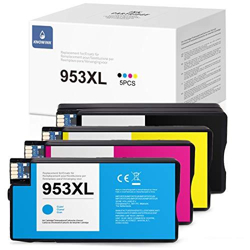 KNOWINK Cartuchos de tinta 953XL compatibles con HP 953 XL para HP Officejet Pro 8710 8720 8715 8730 8740 7740 7720 8210 8718 8719 8725 8218 (negro/cian/magenta/amarillo)