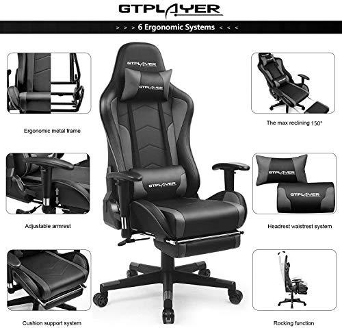 GTPLAYER Silla Gaming con Altavoz Bluetooth Reposapies Escritorio Oficina Gamer Ergonomica con Cojín Reposabrazos 3D… 2