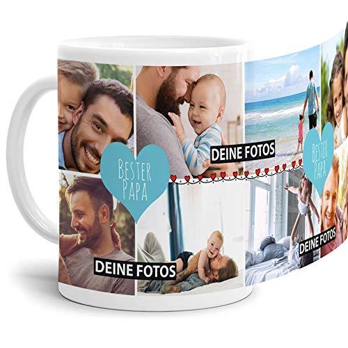 Tassendruck Fototasse mit Spruch - Bester Papa - zum SELBSTGESTALTEN mit Foto-Collage für 8 WUNSCHFOTOS - Bestes Fotogeschenk für Papa - Weiß