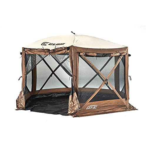 CLAM Quick-Set Pavilion Camper 12.5 x 12.5 Foot Portable Pop-Up Camping Outdoor Gazebo Screen Tent 6 Sided Canopy Shelter w/Stakes & Bag, Brown