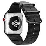 Fintie Armband kompatibel mit Apple Watch SE/Series 6 5 4 3 2 1 44mm 42mm - Premium Nylon atmungsaktive Sport Uhrenarmband verstellbares Ersatzband mit Edelstahlschnallen, Schwarz