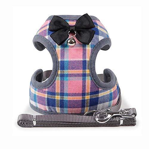 Jinxiao Dog Vest Soft Nylon Pet Products Dog Soft Mesh Bowknot Dog Harness Cat Collar Leads Leash(S Multicolor)