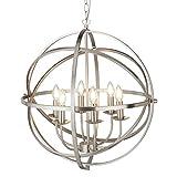 Searchlight Orbit - Lampadario a soffitto sferico a 6 luci argento satinato, attacco E14