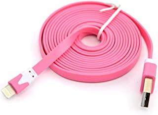 Flat Noodle Cable Data Sync Charger Cord for IOS iPhone - Pink
