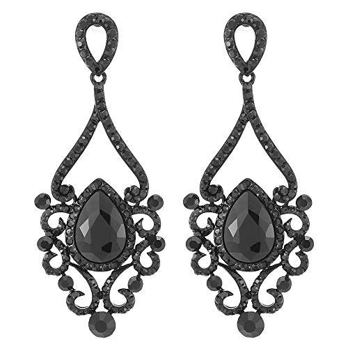 Victoriano Rhinestones Negro Cristal Filigrana Chandelier Araña de Luces Floral Grande Statement Declaración Pendientes