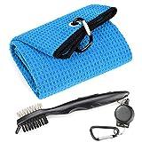 Mile High Life - Toalla de golf con diseño de gofres de microfibra de triple pliegue | Kit de herramientas con limpiador de ranura Club, cable de extensión retráctil y clip (toalla azul+cepillo negro)