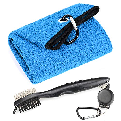 Mile High Life Microfiber Waffle Pattern Tri-fold Golf Towel | Brush Tool Kit with Club Groove Cleaner, Retractable Extension Cord and Clip (Blue Towel+Black Brush)