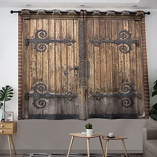 Cortinas opacas para habitación de niñas, de madera, vintage, oscurecimiento de habitación, aislamiento térmico, 72 x 84 cm
