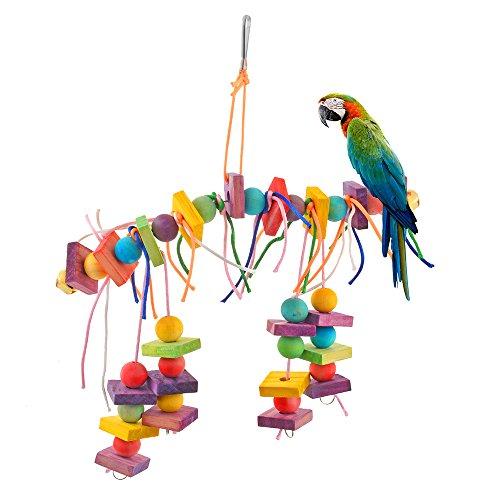 Roblue Vogelspielzeug für Vögel Papagei Spielzeug Vogelspielzeug Bunten Vogel Papagei Schaukel Spielzeug Holz Sitzstangen Plattform Holz Leitern für Sittiche