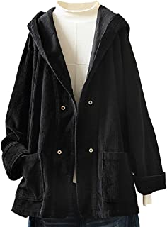 Lazapa Women's Casual Coat, Corduroy Cozy Soft Hooded Jacket Button Pocket Daily Loose Outwear Fall Winter Wild Cardigan