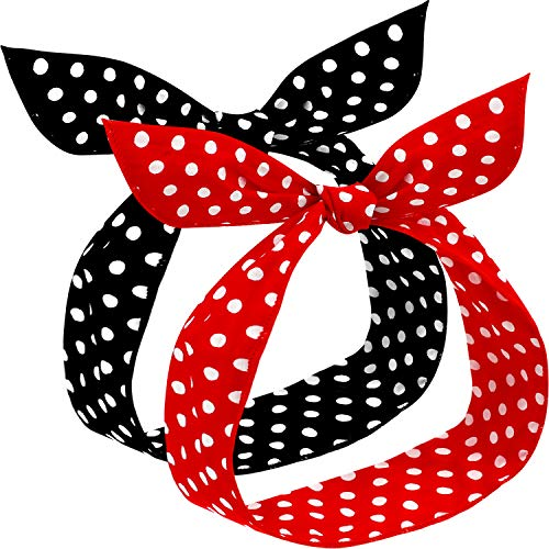 2 Diademas de Lunares Polka Retro Diadema de Navidad Diadema de Alambre con Estampado Vintage Envoltura de Cabeza para Mujeres y Niñas