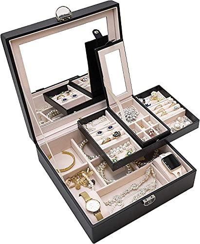 ARCHILE GRANDE SCATOLE GIOIELLI Organizzatore per le donne ragazze signore, doppio strato, con coperchio di serratura e specchio, custodia di stoccaggio del display per gioielli per orecchini per coll