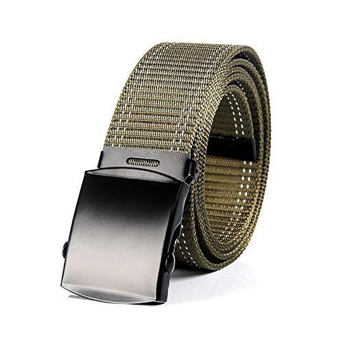 WQAZ Cinturón Delgado Moda Unisex Men Canvas Belts Hebilla de Metal Mujeres Casual Candy Candy Sólido Ejército Militar Táctica Al Aire Libre para Jeans Pantalones Cinturones Material de Cuero de Lona