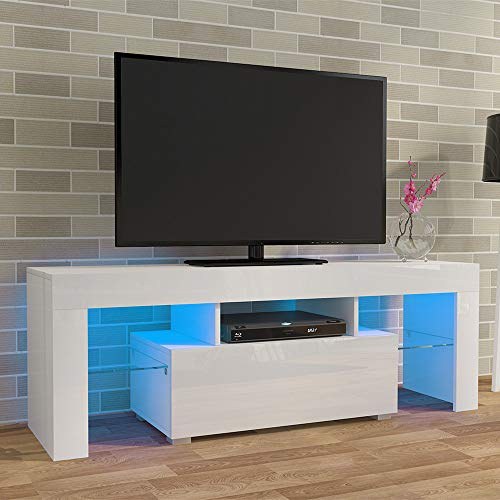 LED TV CABINETS, PALDIN® TV Unit 130cm TV stand with Multi-colour LED RGB Lights Modern High gloss Door & Matt Body TV Cabinet with large media storage drawer for Living Room (White)