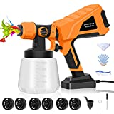 Paint Sprayer, High Power HVLP Spray Gun with 6 Nozzles & 3 Patterns, 1000ml Container, Easy Cleaning, Electric Paint Sprayer for Home Interior and Exterior Walls, Furniture, Fence, Car, House