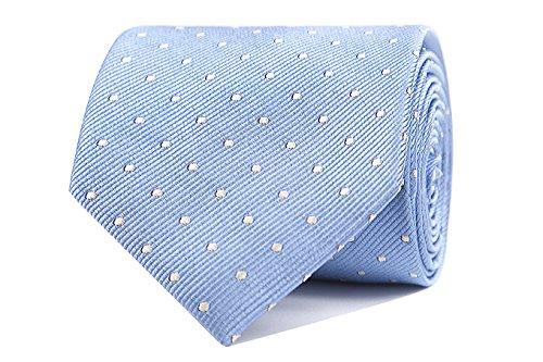 Sologemelos - Cravate Pois - Bleu 100% soie naturelle - Hommes - Taille Unique - Confection artesanale Made In Italy