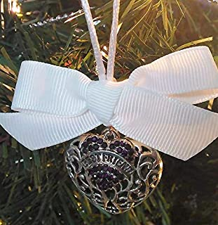 Best Friend Memorial Christmas Ornament Sympathy Gift in Memory w/Purple Crystal Heart